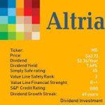【MO】アルトリアより四半期配当(2019年10月)-173.04ドル受取-5.0%増配で50年連続増配に